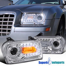 For 2005-2010 Chrysler 300 LED Signal Projector Headlights Head Lamps