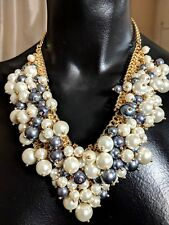 CAPIZ CHUNKY LONG SILVER CURB CHAIN BLACK WHITE BALL TEAR CLUSTER CHIC NECKLACE
