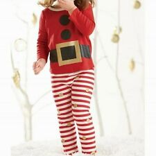 New Mud Pie 2 pc GLITTER SANTA PAJAMAS Christmas Holiday Red Stripes 2T 2 yrs