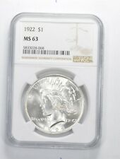 MS-63 GRADED - 1922 Peace Silver Dollar- NGC Brilliant Uncirculated MS63 BU Unc