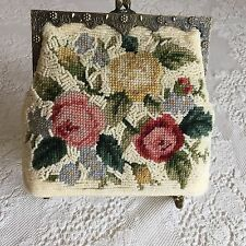 Vintage Style Floral Needlepoint Pearls Purse Evening Bag Metal Frame & Chain