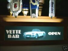 VETTE BAR LED  LIGHTED SIGN W/ 7 beer tap handle DISPLAY 2 levels