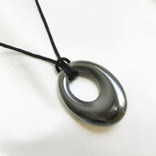 Silver Hematite Donut Ring Crystal Gemstone Cord Necklace 9nA6K3QcY