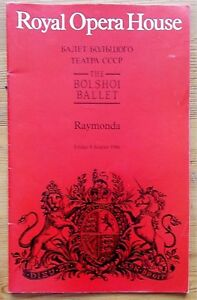 Raymonda programme The Bolshoi Ballet Royal Opera House Covent Garden 8 Aug 1986