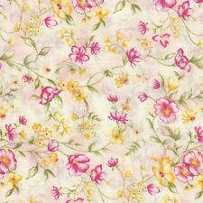 Misty Garden Pink  Floral   100% Cotton Fabric By The 1/2 yard