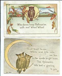 2 Halloween Postcards Owls