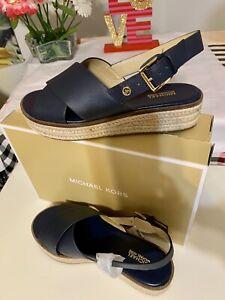 New W/ Box Mk Meryl Leather Sandal Navy Size 6.5 US Seller