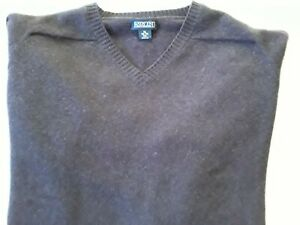 "Lands End XL Tall 46-48 Lambswool V Neck Pullover Sweater Deep Plum 56"" Scotland"