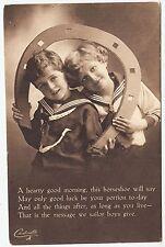 * RAPHAEL TUCK - Lucky Sailor Carbonette #4854 - Heary Good Morning - c1910s era