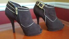 Sexy Brown w/Gold Peep Toe Ankle Boots/ Booties,Size 7.5 Faux Suede~See Details