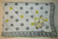 Carters Child Of Mine Owl Baby Blanket Minky Trim Sherpa Grey Yellow Polka Dot