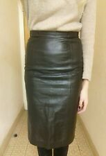 LOEWE Black Leather Pencil Skirt Knee Length High Rise Size 40IT UK8