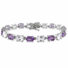 Amour Silver 19 3/4ct TGW Amethyst and White Sapphire Bracelet
