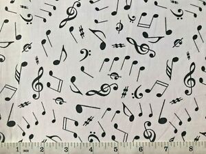 Musical Notes - Black & White - Quilt Fabric - Yard