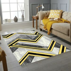 Boston Collection Small Extra Large Living Room Floor Carpet Rug Silver Yellow