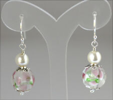 Pink Green and White Flowers Lampwork With Cream Pearl and Silver Earrings