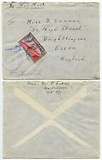 GIBRALTAR WW2 CROWNED CENSOR + FIELD POST OFFICE 6d to ESSEX GB