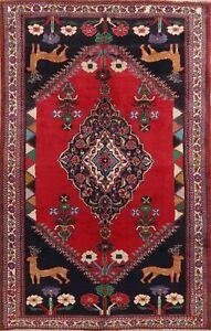 Vintage Animal Pictorial DEER/BIRDS Abadeh RED Area Rug Hand-Knotted WOOL 7'x10'