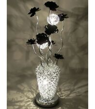 SILVER ALUMINIUM WOVEN WIRE FLORAL TABLE / FLOOR LAMP WITH BLACK FLOWERS