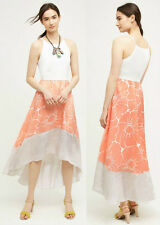 ANTHROPOLOGIE NWT Peachy High-Low Dress Maxi Midi White Peach Beige Sz L $168