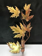 COPPER Leaves & OIL LAMP 3D Modern Metal Wall SCULPTURE Copper 14X8X4 SIGNED