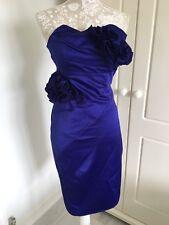 Karen Millen Strapless Cocktail Dress 8 Satin Purple