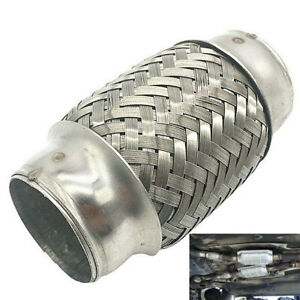 """Car Sliver Exhaust Pipe Straight Piping Connector 1.5"""" x 4""""Double Braid Flexible"""
