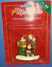 Merrybrite Christmas Village Figurine Man Carrying Presents, Woman, & Child New