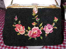 VINTAGE HANDMADE BEADED PURSE EMBROIDERED ROSES PORTRAIT ACCENTS MADE VIENNA