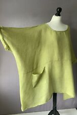 """DIVERSO Amazing Linen Oversized Lagenlook Tunic Top in Chartreuse OSFA 94""""CH"""