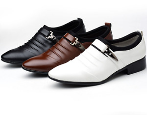Men's Pointed Toe Oxfords Leather Shoes Casual Wedding Dress Formal Work Shoes