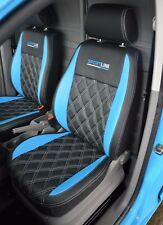 VW Caddy Genuine Fit Van Tailored Seat Covers Black Blue with Diamonds & Logos