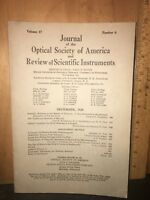 VINTAGE Optical Society of America Journal, December 1928 Vol 17 #6