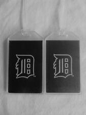 DETROIT TIGERS CUSTOM LUGGAGE TAGS SET OF 2 - OLD ENGLISH LOGO - BAG NAME ID