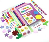 Birthday Card making Kit, hand made cards, childrens craft kit, flower stickers