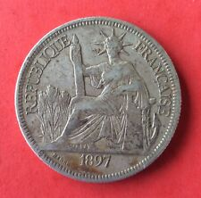France - Indochine - French Indochina - Rare monnaie de 1 Piastre  1897  Argent