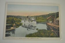 Vintage Color Postcard-Steamer Adirondack at Marion River Carry,Adirondack MT,NY