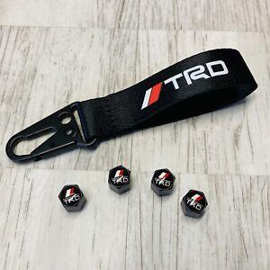 Matte Black TRD Class A Car Airtight Wheel Tire Air Valve Caps With Keychain