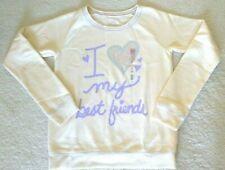 """SO Girls """"I Love my Best Friends"""" Embellished Heart Sweatshirt Ivory XL (16) $36"""