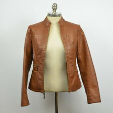 GIACCA Women's Faux Leather Motorcycle Mandarin Collar JACKET / Brown S