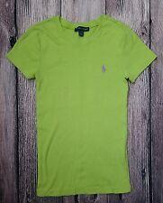 Womens Ralph Lauren T-Shirt Pony Logo Crew Green/Purple Size XS