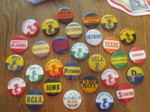 "29 Old Vintage College Football 1&3/4"" Pins-1940's,50's-Nice Shape"