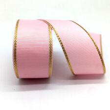 "Pink 5 yds 1"" Gold Metallic Edge Grosgrain Ribbon Wedding Party Decoration"