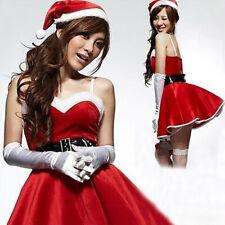Weihnachtskleid Set Weihnachten Cosplay Kostüm mit Handschuhe Weihnachtsmütze
