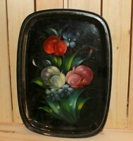 Vintage hand painted floral metal tole tray