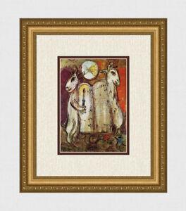 """Inspiring 1962 Marc CHAGALL Color Lithograph """"The Ten Commandments"""" Framed COA"""