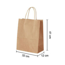 More details for 50 brown twist handle paper party and gift carrier bag / bags rope handles with
