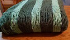 "Hand Made Crochet Knitted Dark & Light Green Afghan Blanket Throw 200"" x 96"""