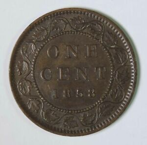 1858 Canada Canadian Victoria Large One Cent Coin KEY DATE