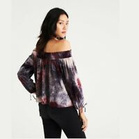 Womens American Eagle Tie Dye Off Shoulder Velour Top NEW NWT Boho XS Purple